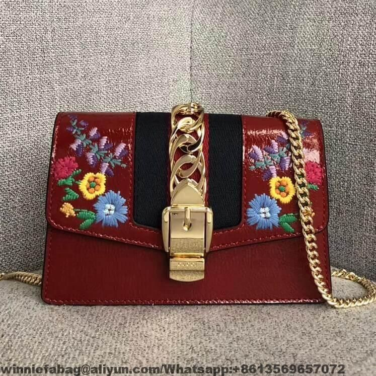 Gucci Sylvie Embroidered Flower Patent Leather Mini Chain Bag