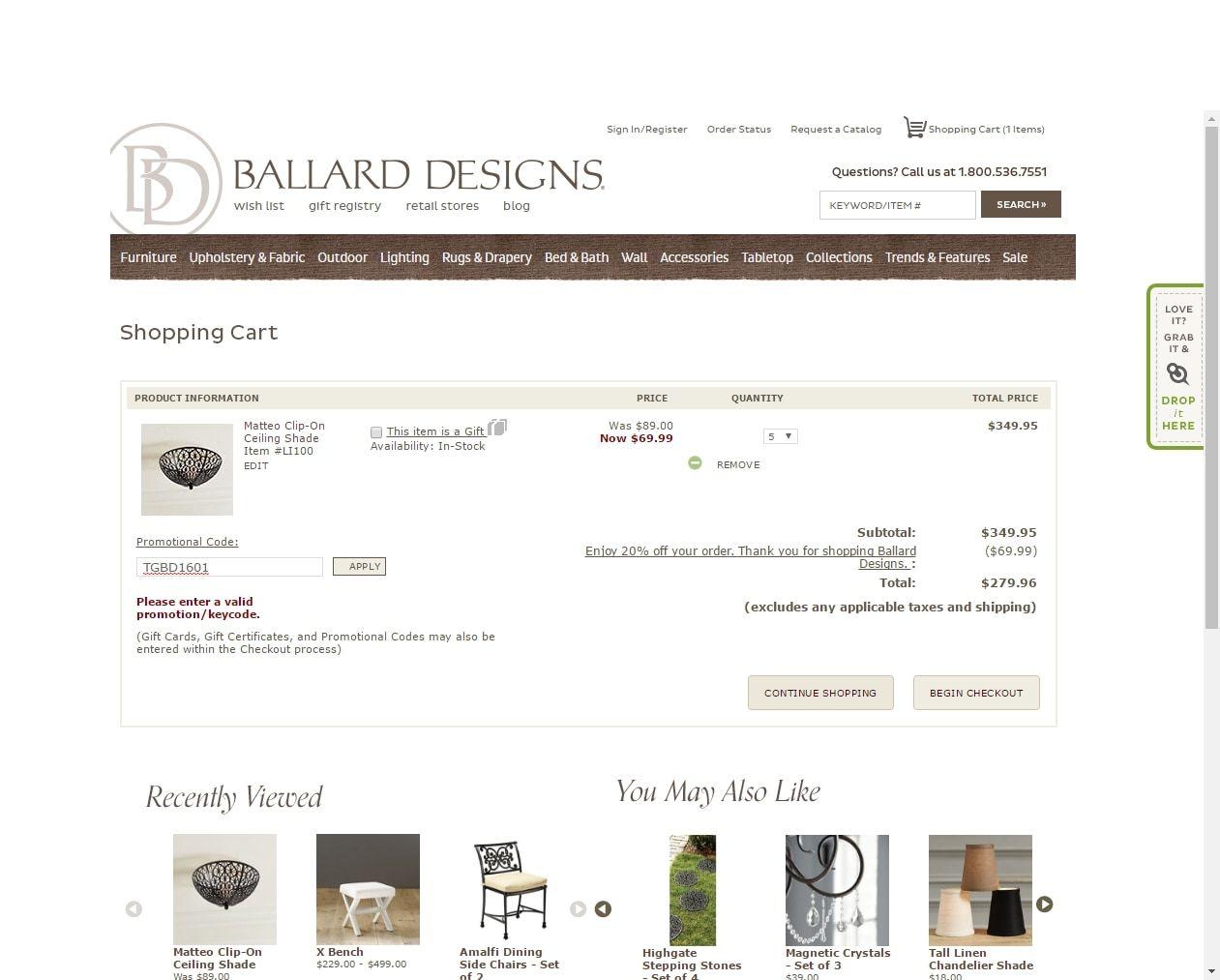 free shipping code ballard designs