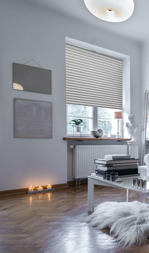 sensuna® Sichtschutz Plissee in Weiß\/Beige pleated blind - gardinen wohnzimmer beige