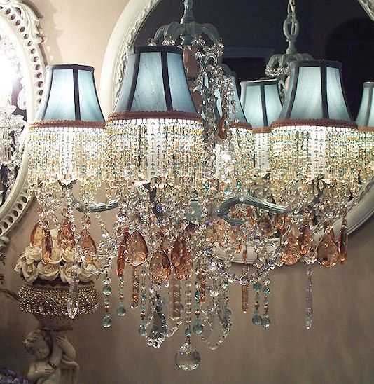 Glacier Blue and Pale Peach Crystal Chandelier with Matching ...
