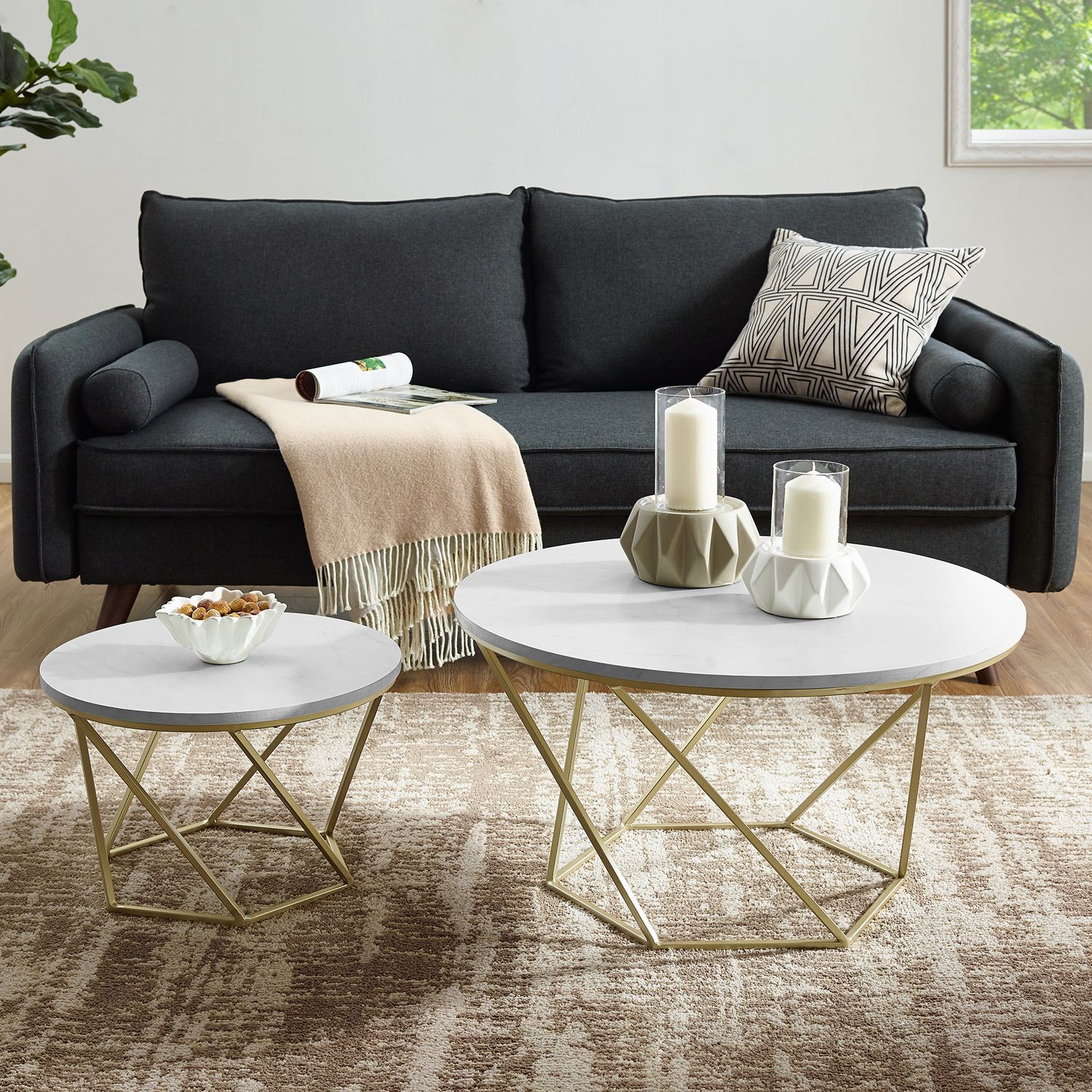 Geometric White Faux Marble Gold Nesting Coffee Tables Coffee
