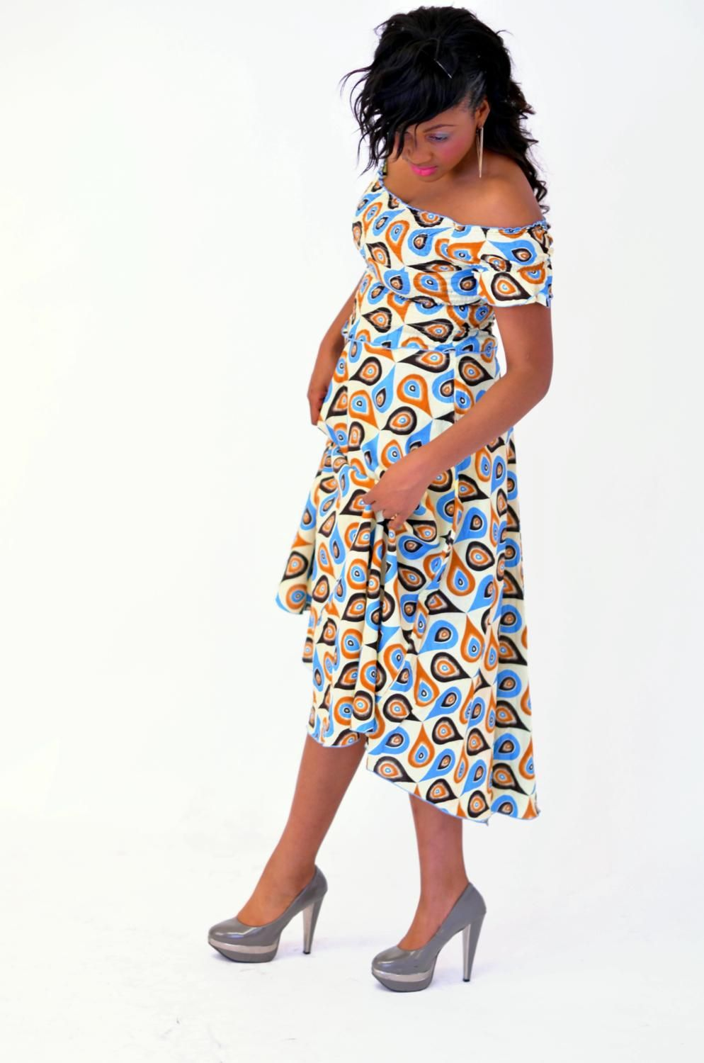 Ankara Clothing : Off Shoulder Maxi Dress. Shirred