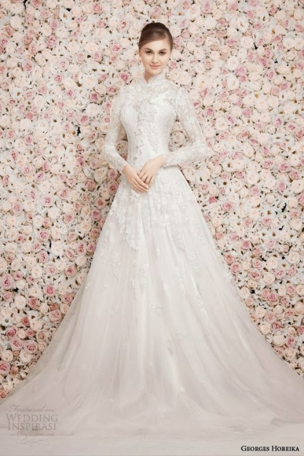 Simple Long Sleeve High Neck Wedding Dress Addicfashion