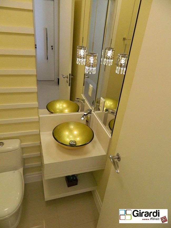 Lavabo clean e luxuoso! A Girardi Móveis faz projetos modernos e atualizados no ramo de móveis sob medida. Venha conferir!!! #girardimóveis #sobmedida #lavabomoderno