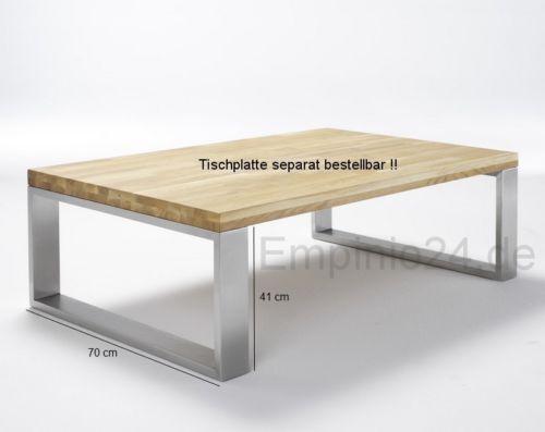 Tischuntergestell aus gebuerstetem edelstahl fuer for Couchtisch 70 cm hoch
