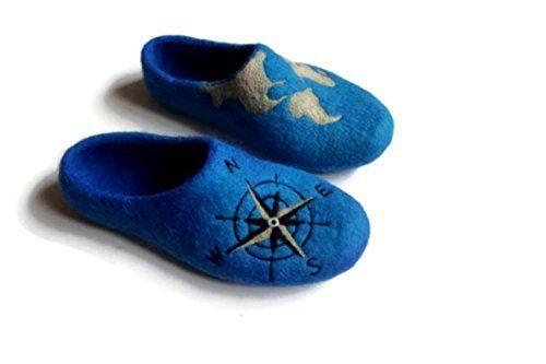 World map travel Felt Slippers Custom painted Men
