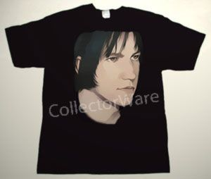 ELLIOTT SMITH drawing 3 CUSTOM ART UNIQUE T-SHIRT  Each T-shirt is individually hand-painted, a true and unique work of art indeed!  To order this, or design your own custom T-shirt, please contact us at info@collectorware.com, or visit  http://www.collectorware.com/tees-elliott_smith.htm