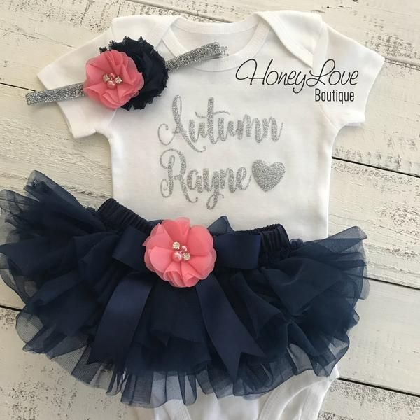 653b5cd58 Birthday Party Outfits · PERSONALIZED silver glitter bodysuit coral pink  navy blue embellished flower tutu skirt bloomer newborn toddler baby