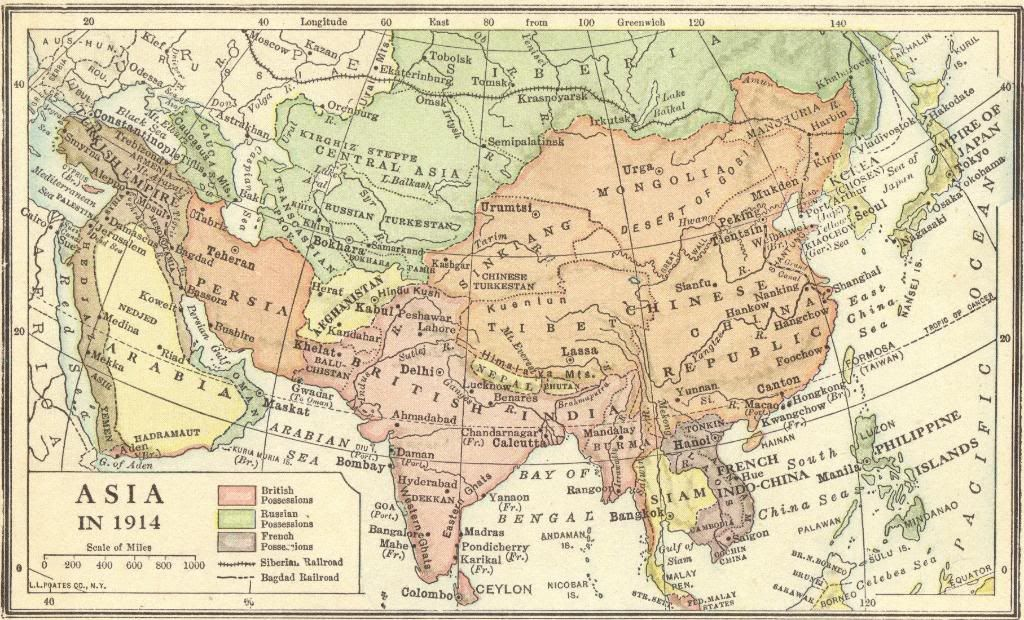 Map Of Asia 1914.Imperialism In Asia Map Of European American And Japanese