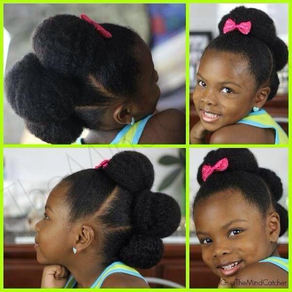 Three Bun Style On A Little Girl Natural Hairstyles For Kids Natural Hair Styles Toddler Hair