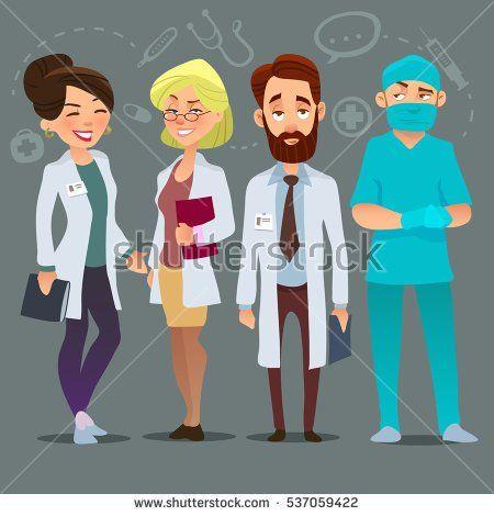 Hospital Medical Staff Team Doctors Nurses Surgeon Vector Flat