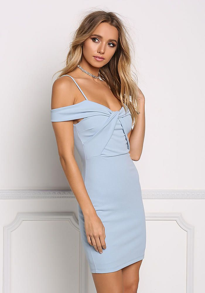 347882d820e7 Light Blue Cold Shoulder Twisted Bodycon Dress - Dresses
