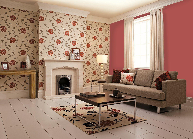 Dulux Feature Wallpaper Camille Crimson Amazoncouk Diy & Tools Best Living Room Wallpaper Design Ideas Design Ideas