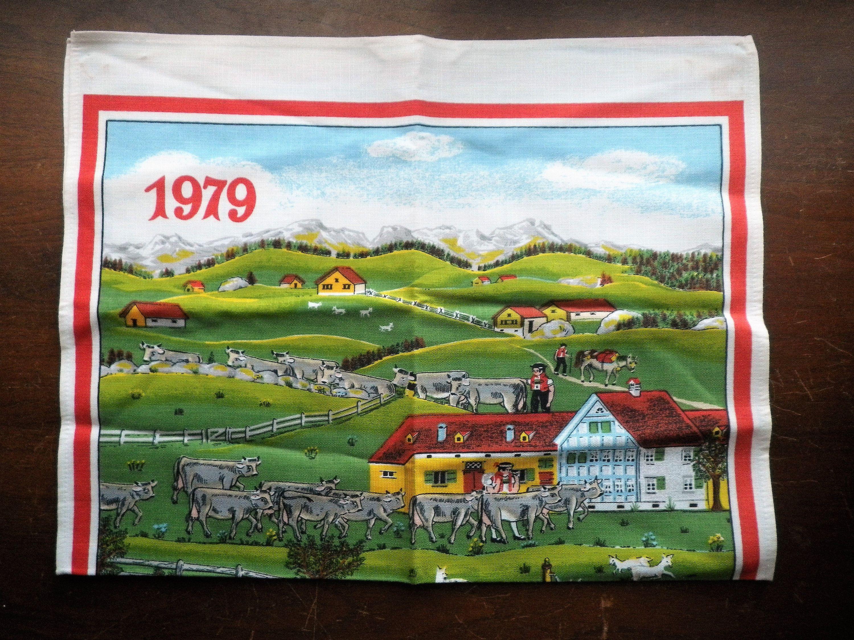 Vintage 1979 Calendar Towel German Farm Dairy Scene Grandma S
