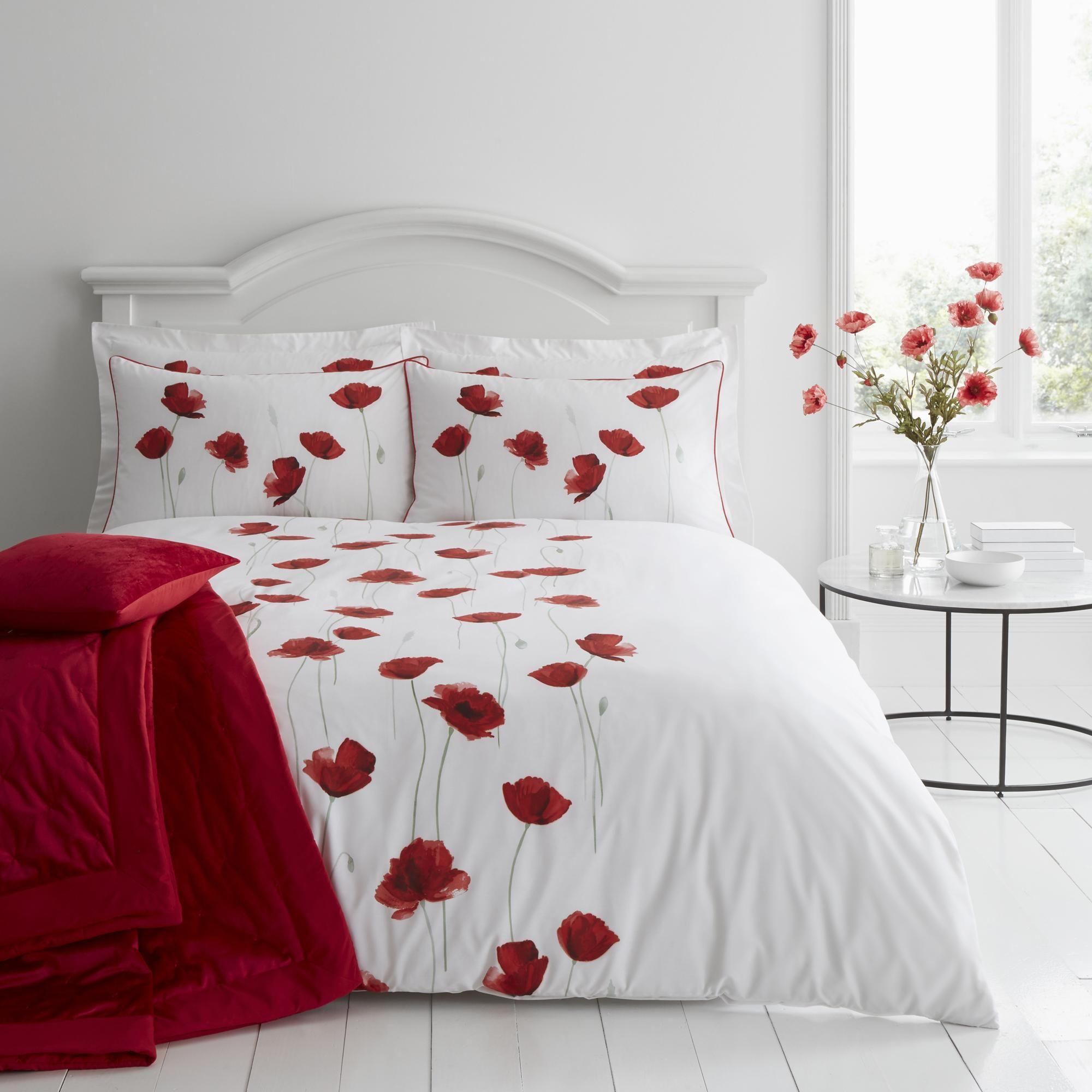Poppy Trail Red Duvet Cover And Pillowcase Set In 2020 Red Duvet Red Duvet Cover