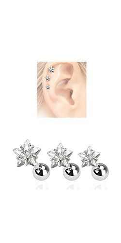 3 Pack Tragus Helix Clear Star CZ Studs 316L Surgical Steel Ear Cartilage Jewelry 16G NRB http://www.amazon.com/dp/B00JH2YPE4/ref=cm_sw_r_pi_dp_lgHZvb1T33905