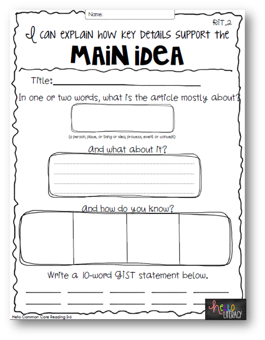 worksheet Main Idea Worksheets For 2nd Grade 1000 images about main idea on pinterest graphic organizers current events and comprehension