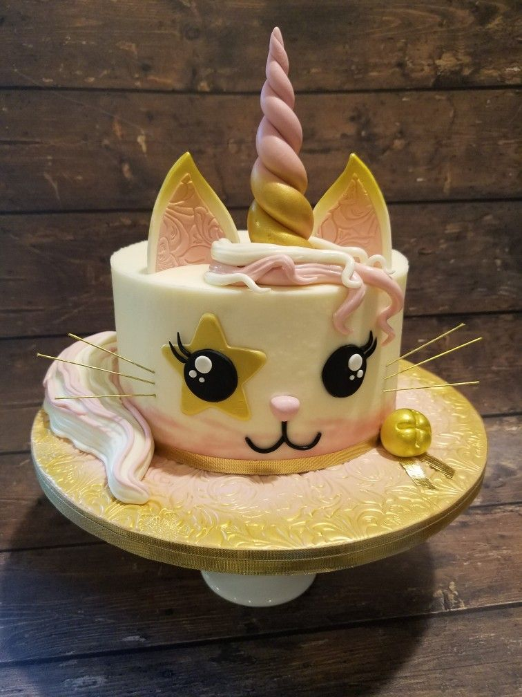 Outstanding A Cute Kawaii Caticorn Cake Or Unikitty With Images Cat Cake Personalised Birthday Cards Arneslily Jamesorg