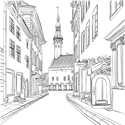 Estonia Coloring Page Kidspressmagazine Com Perspective Drawing Architecture Town Drawing Cityscape Drawing