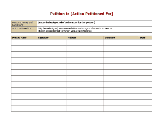 Perfect Petition Form   Sample Petition Template Inside Free Printable Petition Template