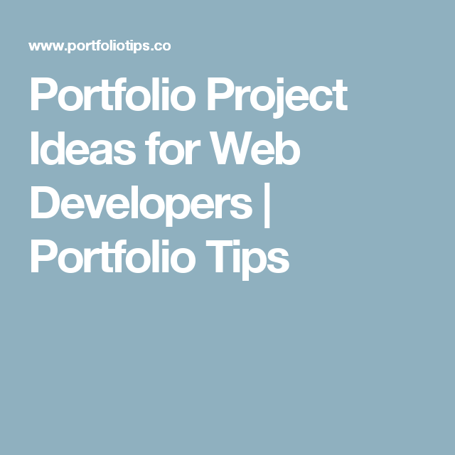 portfolio project ideas for