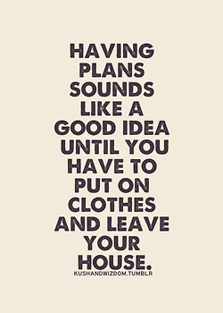 Having Plans Sounds Like A Good Idea Until You Have To Put On Clothes And Leave Your House Funny Quotes Words Quotes