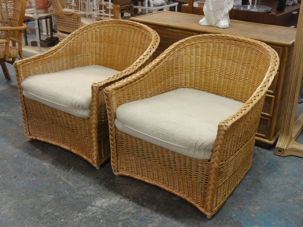 Pair Of McGuire Rattan / Wicker Club Chairs