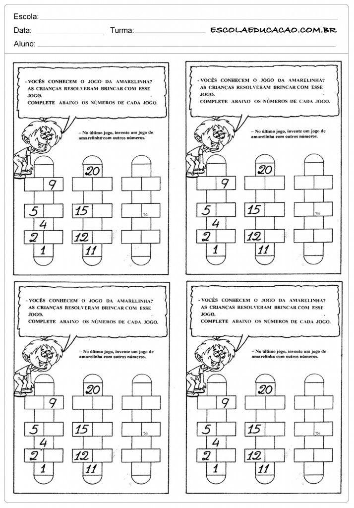 Famosos Atividades de Matemática 2º ano - Jogo da amarelinha | Atividades  UI31