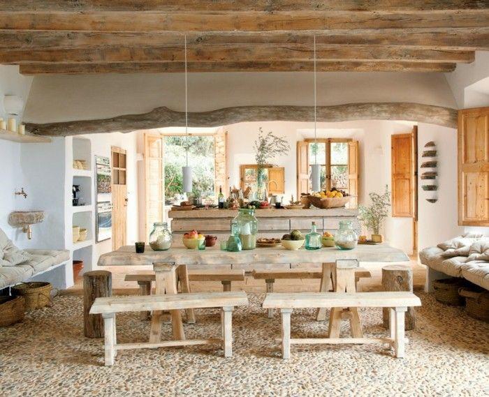 rustikal einrichten natürlich wohnen holzbalken küche esszimmer