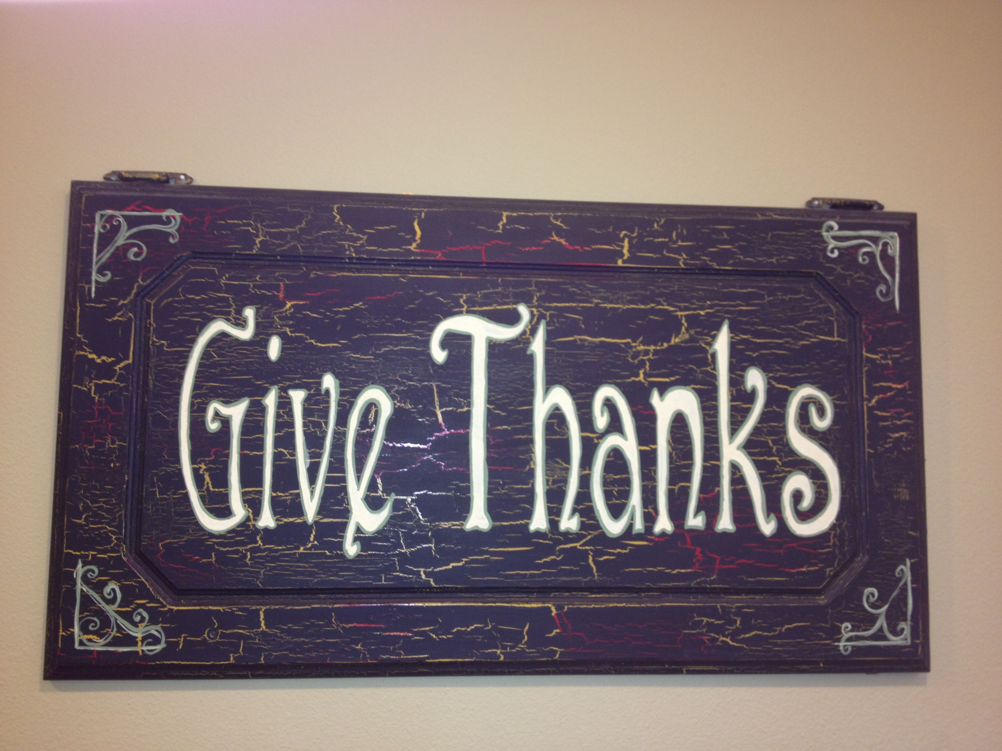 Give thanks sign on an old cabinet door cabinet door art