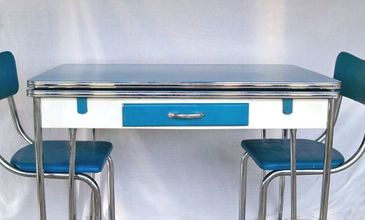 Medium image of 1950s blue white  u0026 chrome kitchen table  because everything was chrome in the 50s