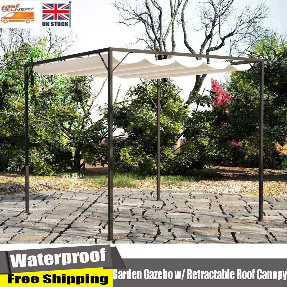 Waterproof Garden Gazebo Retractable Roof Canopy Tent Patio Awning Party Shelter Unbranded Terrassen Gartenlaube Pavillon Ideen Terassenideen