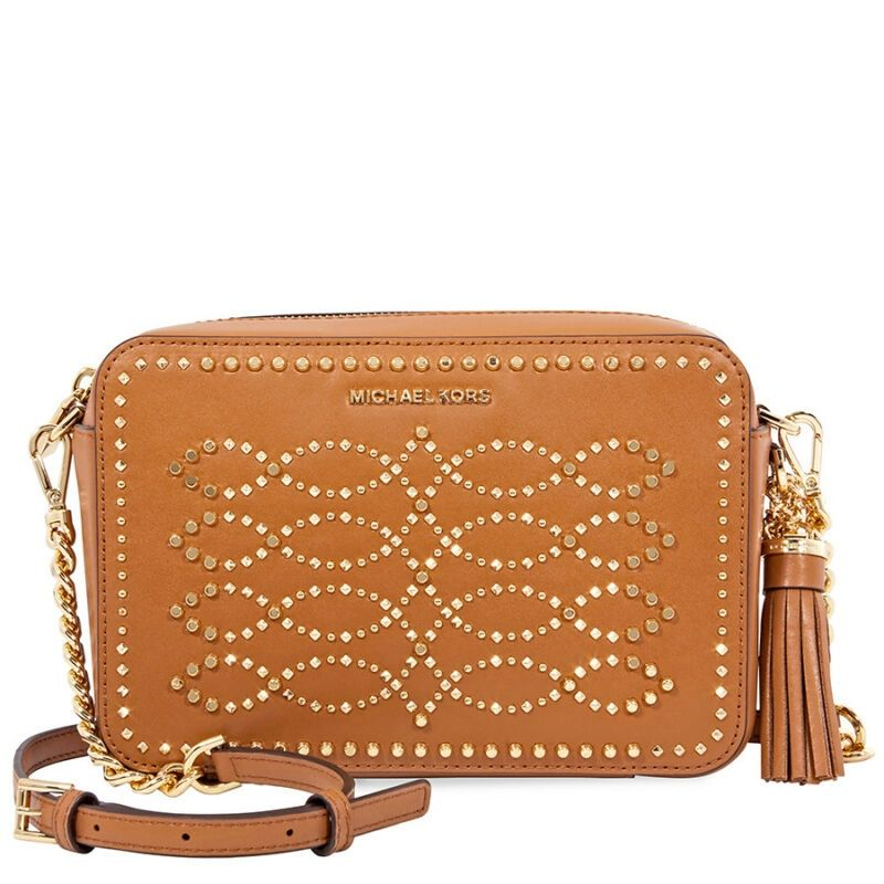 6214a38704ea Michael Kors Ginny Medium Studded Leather Crossbody- Acorn 32F8GF5M2U-203