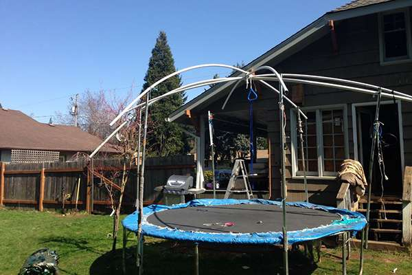 How To Put A Top On A Trampoline Roof Shade Cover Ideas Trampoline Tent Cover Trampoline Tent Diy Tent