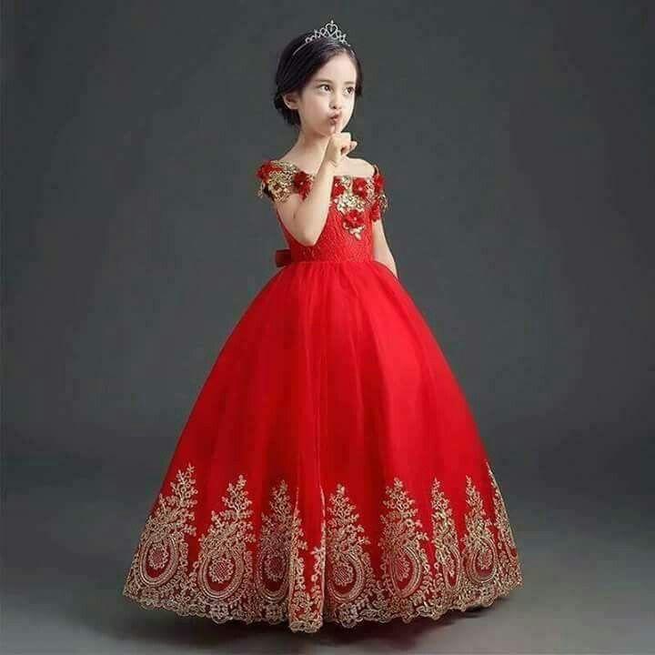GIRLS RED BEAD TRIM CHIFFON FULL LENGTH MAXI PAGEANT PRINCESS PROM PARTY DRESS