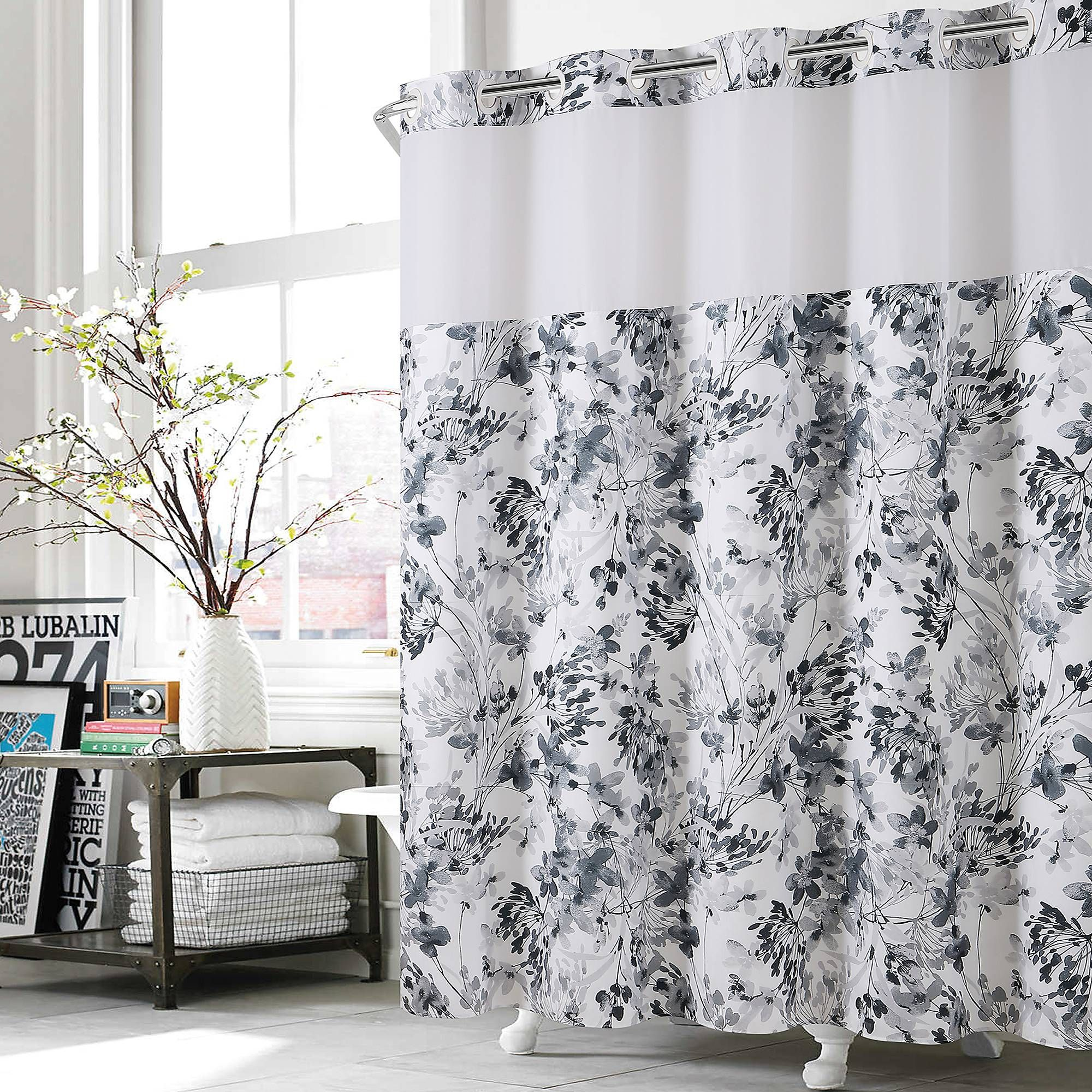 Hookless Watercolor Floral Shower Curtain In Black White Bed