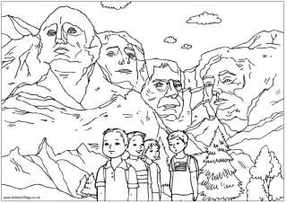 A beautiful Mount Rushmore coloring pages (and other US