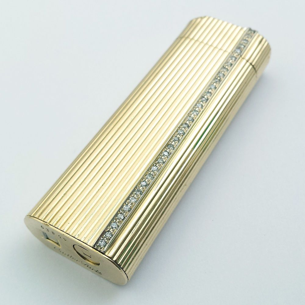 Cigarette Diamond: CARTIER Lighter, Solid 18k 750 Gold And Diamond Decorated
