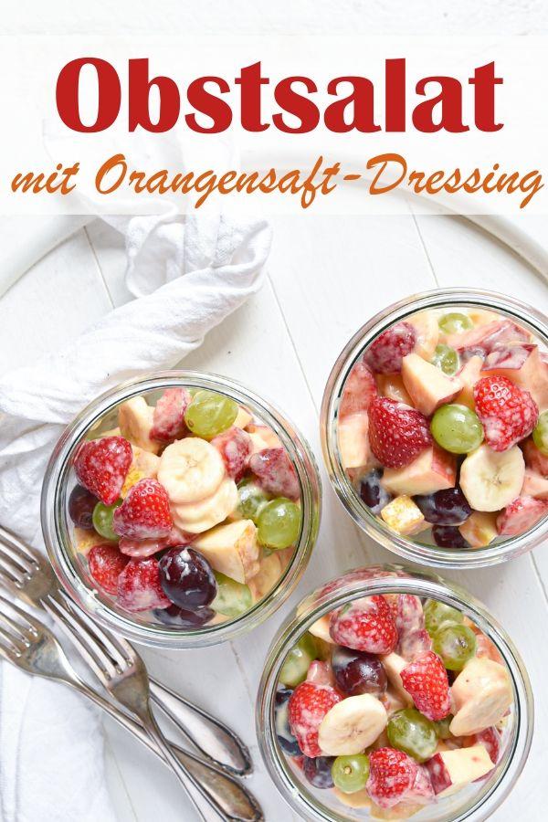 Obstsalat mit Orangesaft-Dressing