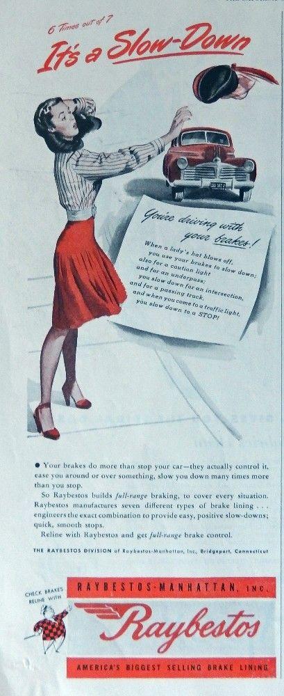 Raybestos Brake Linning  40 s Color Illustration Original Vintage 1947 Post Magazine Art