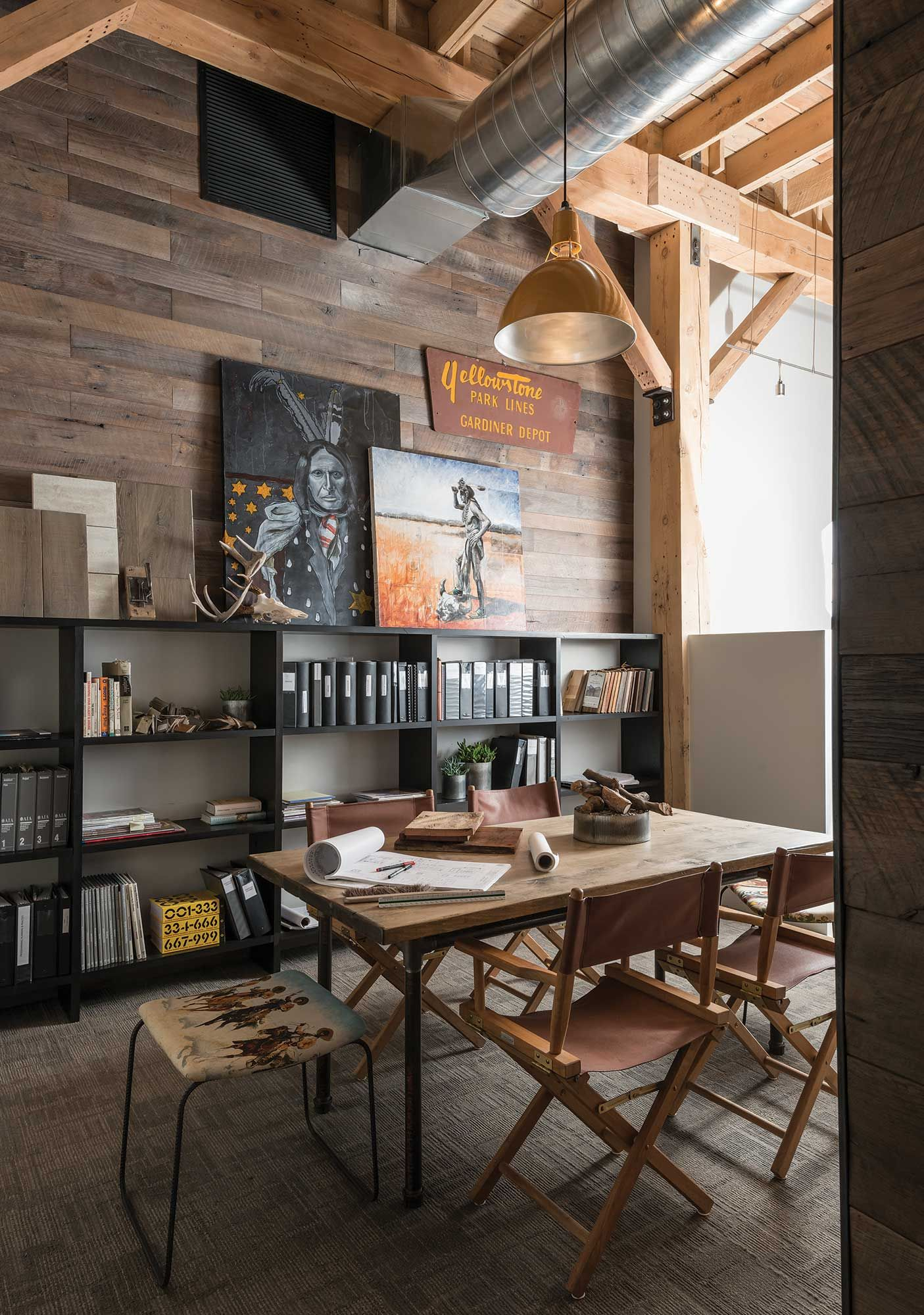 Big Sky Journal - Reconfiguringa space that was oncea pea cannery, MillerArchitects preservedthe industrial historyof the building withopen rafters, naturallight, and high ceilings.