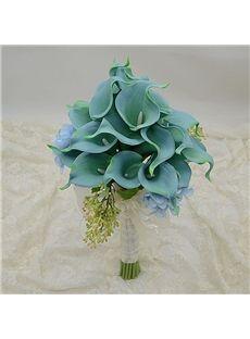 Green Hot PU Feel Calla Lily Flower Wedding Bouquet Darwin