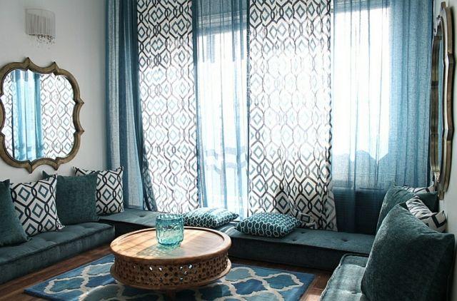 Arabische Formen Und Figuren Wohnzimmer In Türkis
