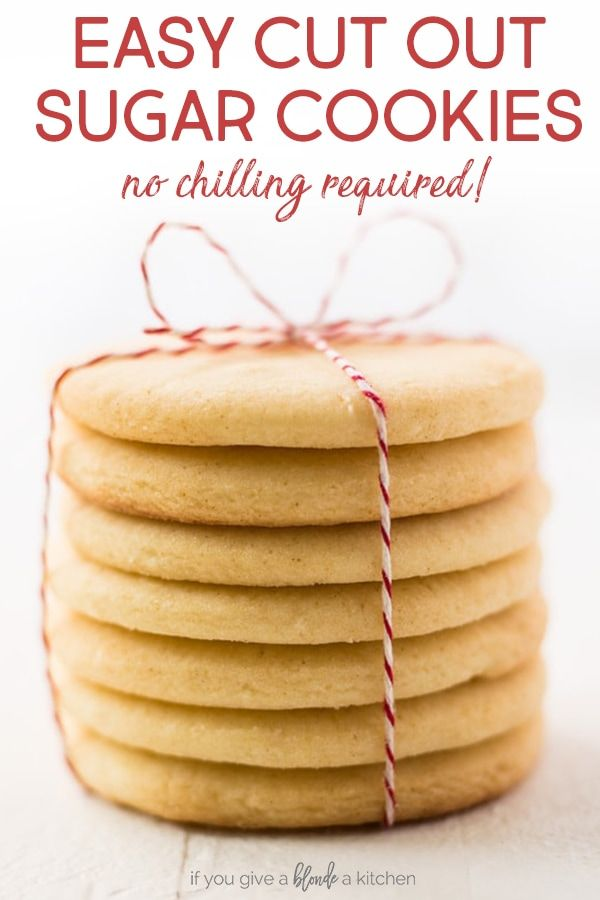 Easy cut out sugar cookie recipe requires no chilling the dough! Just mix the ingredients, roll out the dough, and use cookie cutters to make shapes! #sugarcookies #cutoutsugarcookies #cookierecipe #sugarcookierecipe #christmascookies via @haleydwilliams