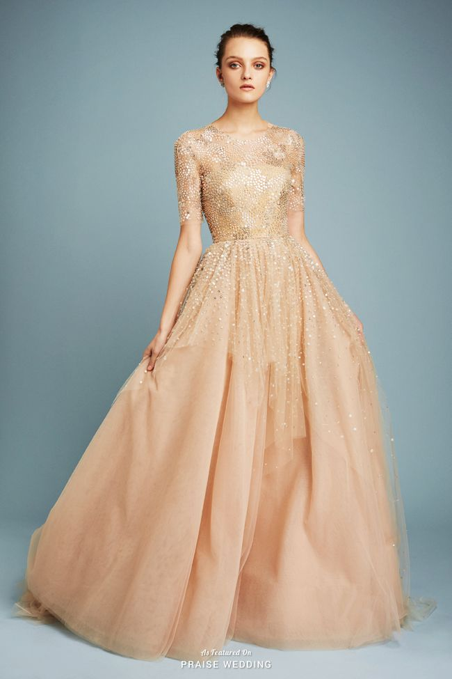 This golden gown from Reem Acra bursting with ultra-chic ...