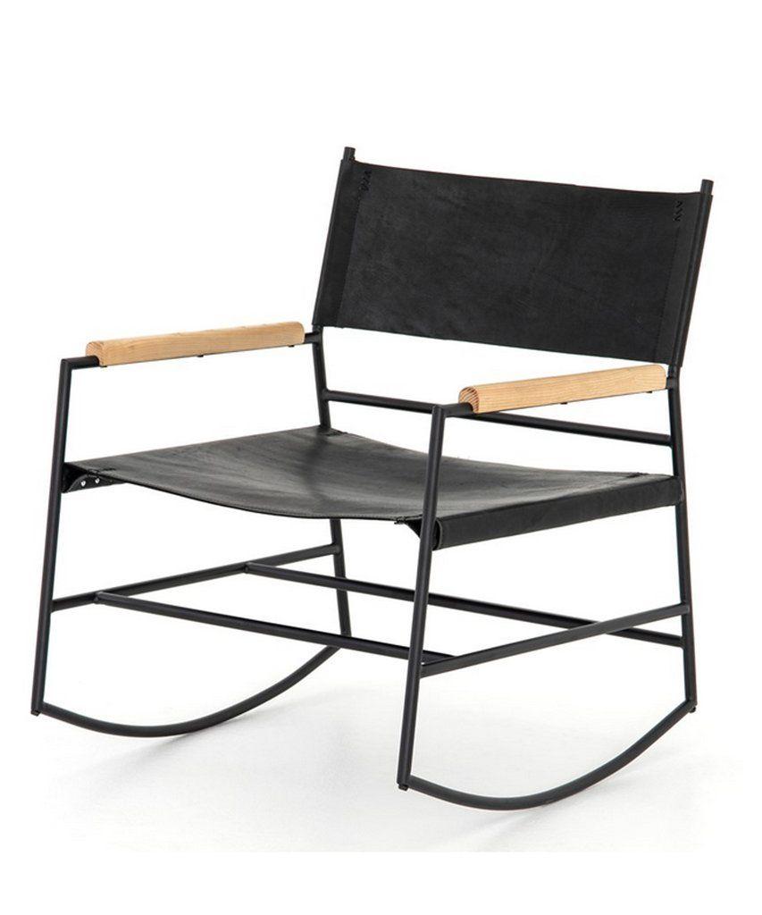 Terrific Jake Leather Rocking Chair Black Interior Pieces Green Download Free Architecture Designs Scobabritishbridgeorg