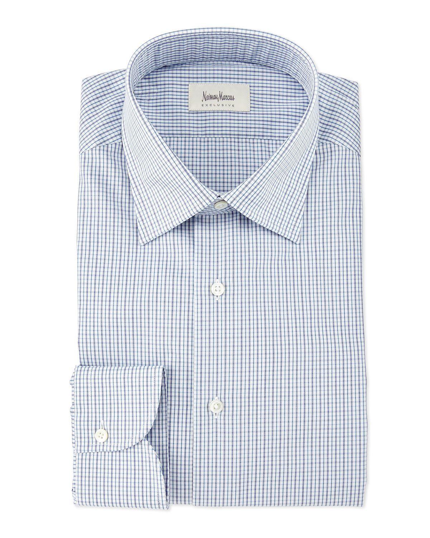 Multi Check-Print Woven Dress Shirt, Blue, Women's, Size: 43 EU (17 US) - Neiman Marcus