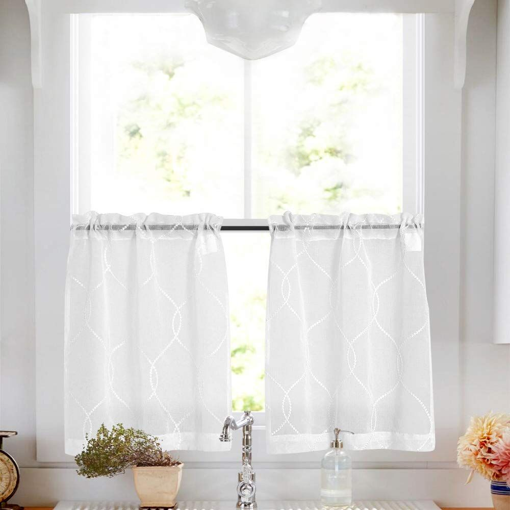 Sheer Curtains Embroidered 45 Inches For Kitchen Semi Sheer