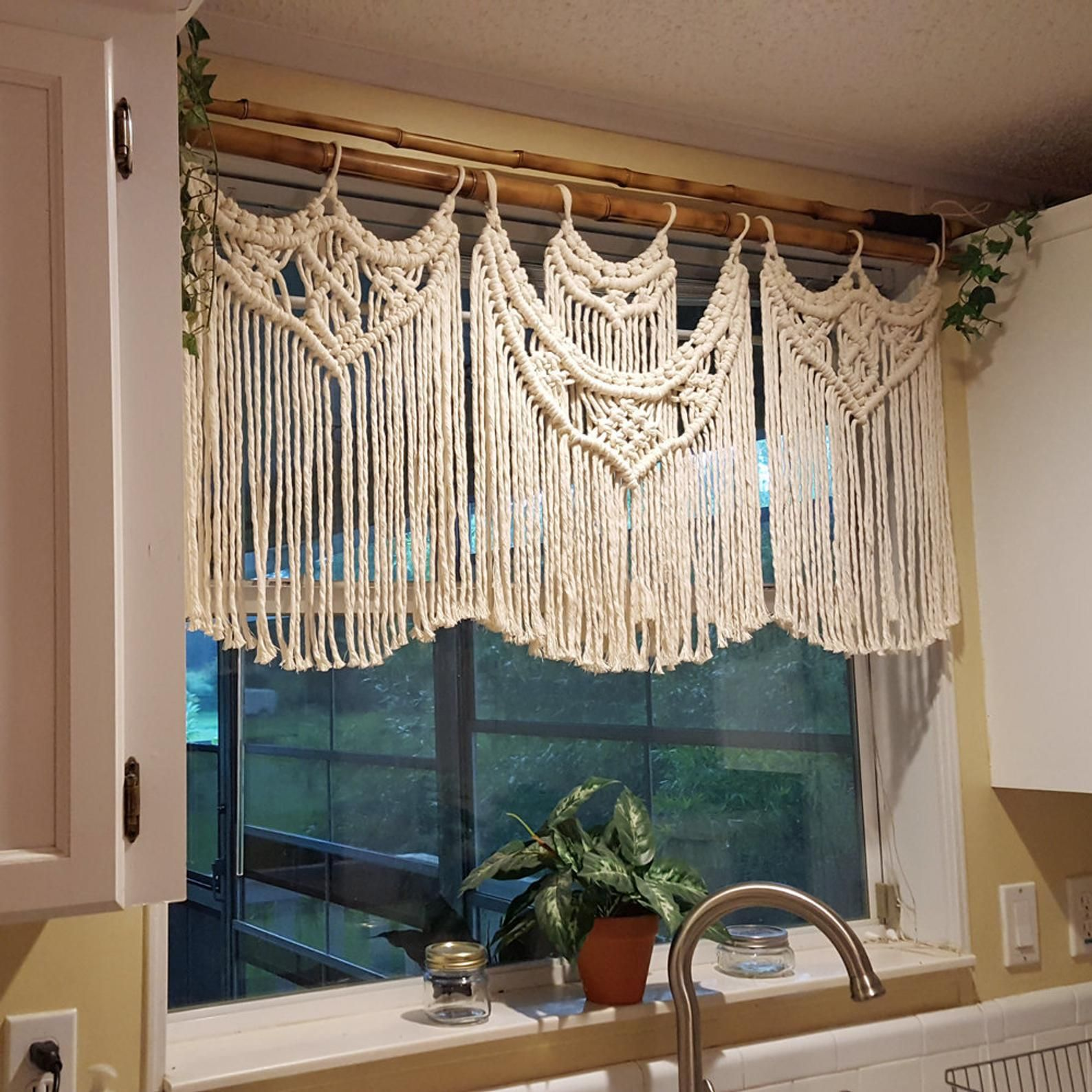 Macrame Window Curtain, Large Covering, White Kitchen Valance or ...
