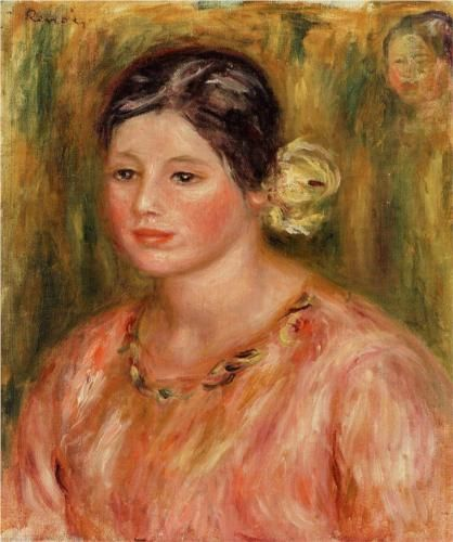 Head of a Young Girl in Red - Pierre-Auguste Renoir